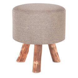 #N/A - Algoma (large) - Algoma (large). Upholstered Stool With Natural Wood Legs. Width: 16 in. Depth: 16 in. Height: 18 in.