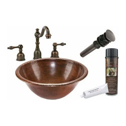Premier Copper Products - Round Drop-in Copper Sink w/ORB Faucet - BSP2_LR17RDB Premier Copper Products Round Self Rimming Hammered Copper Sink with ORB Widespread Faucet, Matching Drain and Accessories