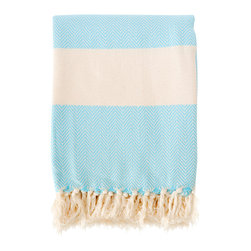 Organic Herringbone Pestemal - Aqua - This versatile pestemal (traditional Turkish bath towel) has been hand-woven on traditional style looms by families in the South of Turkey. Made from 100% certified organic cotton, it is absorbent, dries quickly and is light-weight. This Herringbone pestemal is a slightly heavier weight than the linen and Hamam pestemals.