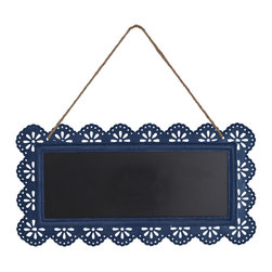 Enchante Accessories Inc - Hanging Metal Framed  Wall Message Chalk Board 5 in. x 12 in.  (Navy) - Hanging metal framed wall chalk board