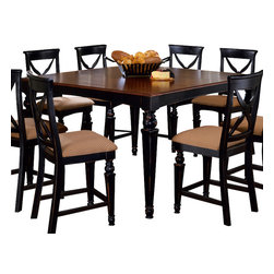 Hillsdale Furniture - Hillsdale Northern Heights Counter Height Dining Table in Black and Cherry - This fabulous dining collection will enhance any decor whether an informal or formal dining room. The elegant rectangular wood Northern Heights table is graced with sophisticated French inspired carved legs. This same style is on the matching dining chair and stool legs accented with a beautiful fabric seat. The backs have a criss-cross design that will enhance any decor. This dining group is finished in a unique black finish with a cherry finish, made of sturdy hardwood (Rubberwood, alder, and veneers) and easy to assemble.