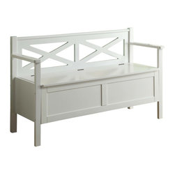 """Monarch Specialties - Monarch Specialties Transitional Solid Wood Bench with Storage in White - Accentuate your entrance way with this 50"""" long storage bench. Conveniently stow away blankets, scarves and mitts or simply sit on it while you put on your shoes! This white solid wood bench and criss-cross motif back offer sturdy support. This bench that can also be used as an accent piece in your home, it will no doubt give a warm feel to any decor. What's included: Bench (1)."""