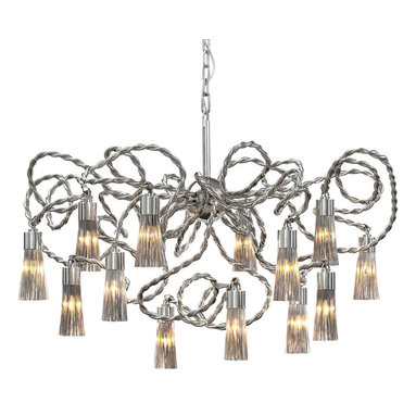 Sultan of Swing Hanging Lamp Chandelier by Brand Van Egmond - The Sultan of Swing Hanging Lamp Chandelier combines elements from the Broom collection and bold steel lines to create a strong and fluid visual piece. Completed in a nickel finish, fixture is also available in a cone shape version. Uses (14) 25 or 40 watt, 120 volt, candelabra incandescent bulbs not included.  Supplied with 59.1 inch chain, 78.7 inch electrical cable and a ceiling shade. 39.4W x 23.6H or conical shaped version: 39.4W x 39.4H.