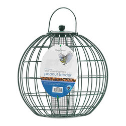 PineBush - Peanut Anti-Squirrel Sphere - Peanut Anti-Squirrel Sphere. All metal construction. Outer cage that allows only small birds to feed.