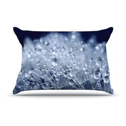 """Kess InHouse - Monika Strigel """"Dandelion Diamonds"""" Navy Blue Pillow Case, King (36"""" x 20"""") - This pillowcase, is just as bunny soft as the Kess InHouse duvet. It's made of microfiber velvety fleece. This machine washable fleece pillow case is the perfect accent to any duvet. Be your Bed's Curator."""