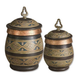 Uttermost - Uttermost Cena Canisters (Set of 2) - Uttermost Cena Canistersis a Part of Billy Moon Designs Collection by Uttermost These decorative, terra cotta canisters have a distressed chestnut finish with sage green, blue, golden yellow, and antiqued metallic copper hand painted details. Removable lids. Sizes: Sm-7x13x7, Lg-10x15x10 Canisters (2)