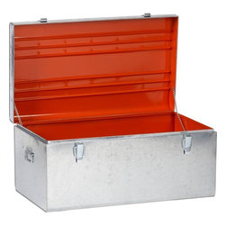 Versus Galvanized Trunk - We all need more storage. How great is this trunk with a pop of color when opened?