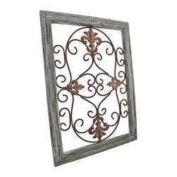 Distressed Wooden Green Frame Wrought Iron Fleur de Lis Wall Decor 22 X 16 In. - The antique distressed wood and rusted metal accents of this fleur de lis wall decor speak of a long glorious life on the Champs-Elysees. Now, this beautiful piece of wrought iron art can be displayed in your own home. A single metal wall hanger on the reverse of the distressed light green wooden frame allows it to hang from a single nail or wall hook. The remarkable frame measures 22 inches tall, 16 inches wide, and 1 inch deep. This classic piece is an excellent cultural home accent that would look decidedly elegant in any setting.