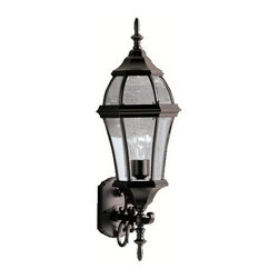 "BUILDER - KICHLER 9791BK Townhouse Traditional Outdoor Wall Sconce - With its tall and intricate design, the Townhouse Collection adds classic form to Kichler's expansive assortment of decorative outdoor lighting. Made by the finest craftsmen in the industry, each piece is formed from cast aluminum and is U.L. listed wet location, ensuring these high quality fixtures will continue looking fabulous for years to come. This 27"" high, 1-light wall lantern features our Black finish with clear beveled glass panels, which uses a100-watt (max.) bulb that accentuates the luster of your home with zeal."