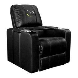 Dreamseat Inc. - Golf Swing Yellow Home Theater Plus Leather Recliner - Check out this awesome Leather Recliner. Quite simply, it's one of the coolest things we've ever seen. This is unbelievably comfortable - once you're in it, you won't want to get up. Features a zip-in-zip-out logo panel embroidered with 70,000 stitches. Converts from a solid color to custom-logo furniture in seconds - perfect for a shared or multi-purpose room. Root for several teams? Simply swap the panels out when the seasons change. This is a true statement piece that is perfect for your Man Cave, Game Room, basement or garage. It combines contemporary design with the ultimate comfort from a fully reclining frame with lumbar and full leg support.