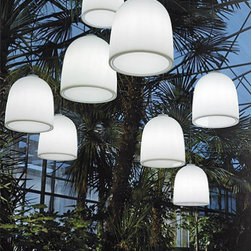 """Modoluce - Modoluce Campanone outdoor pendant light - The Campanone outdoor pendant light fromModoluce has been designed by Paolo Grasselli in 2008. This suspension mounted luminaire is great for incandescent lighting. The Campanone is composed of a polyethylene diffuser which is available in your choice of white, orange-red, grass green, sun yellow, fuchsia, cenere (light blue), turquoise and vinasse (light purple). The power cable has an IP (ingress protection) of 68, which is the highest level of protection against outdoor elements a fixture can have. The Campanone outdoor pendant light exhibits a versatile and exotic design, along with quality craftsmanship, that is sure to brilliantly illuminate any contemporary outdoor setting.  Product Details:  The Campanone outdoor pendant light fromModoluce has been designed by Paolo Grasselli in 2008. This suspension mounted luminaire is great for incandescent lighting. The Campanone is composed of a polyethylene diffuser which is available in your choice of white, orange-red, grass green, sun yellow, fuchsia, cenere (light blue), turquoise and vinasse (light purple). The power cable has an IP (ingress protection) of 65. The Campanone outdoor pendant light exhibits a versatile and exotic design, along with quality craftsmanship, that is sure to brilliantly illuminate any contemporary outdoor setting. This item is a special made to order item and not returnable! Details:                         Manufacturer:             ModoLuce                            Designer:                        Paolo Grasselli                                         Made in:            Italy                            Dimensions:                         Small: Height: 14.17"""" (36 cm) Width: 12.99"""" (33 cm)                          Large: Height: 17.72"""" (45 cm) Width: 20.08"""" (51 cm)                                                                                           Light bulb:                         Small: 1 X 60W incandescent                """