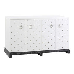 "Bungalow 5 - Bungalow 5 Barcelona Large Cabinet - Bold metallic style defines the Bungalow 5 Barcelona large cabinet. Nickel nailheads and silver ring pulls punctuate the white lacquer and gray wood chest for contemporary edge. 59.5""W x 16.5""D x 33""H; Gray ceruse oak base; Four doors"