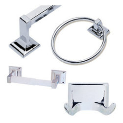 DHI-Corp - Millbridge 4-Piece Bathroom Kit, Polished Chrome - The Design House 534628 Millbridge 4-Piece Bathroom Kit comes with a towel ring, robe hook, towel bar and toilet paper holder. Made of zinc and aluminum with a polished chrome finish, this kit adds a modern aesthetic to most decors. Hang large towels on the 24-inch towel bar and hand towels on the 5-9-inch towel ring. The toilet paper holder measures 8.2-inches and the robe hook is 2.5-inches. The Millbridge collection features ceiling fans, light fixtures, shower heads and faucets and much more. The Design House 534628 Millbridge 4-Piece Bathroom Kit comes with a 1-year limited warranty that protects against defects in materials and workmanship. Design House offers products in multiple home decor categories including lighting, ceiling fans, hardware and plumbing products. With years of hands-on experience, Design House understands every aspect of the home decor industry, and devotes itself to providing quality products across the home decor spectrum. Providing value to their customers, Design House uses industry leading merchandising solutions and innovative programs. Design House is committed to providing high quality products for your home improvement projects.