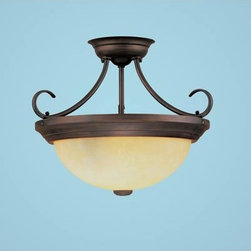 Millennium Lighting - Rubbed Bronze Two-Light Semi-Flush with Turinian Scavo Glass - -Turinian Scavo Glass Millennium Lighting - 5203-RBZ