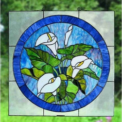 """Meyda Tiffany - Meyda Tiffany 23866 Stained Glass Tiffany Window Woodland Flowers Colle - 20""""H X 20""""W Calla Lily Stained Glass WindowA bouquet of Pure White Calla Lilies with Bronzed Green leaves are the centerpiece of this Plum touched Midnight Blue circle framed in Clear seedy glass. This Meyda Tiffany original window is handcrafted utilizing the copperfoil construction process and 123 pieces of stained art glass encased in a solid brass frame. Mounting bracket and jack chain included."""
