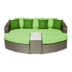 "Reef Rattan - Reef Rattan Aruba 4 Pc Day Bed Set - Natural Rattan / Green Cushions - Reef Rattan Aruba 4 Pc Day Bed Set - Natural Rattan / Green Cushions. This patio set is made from all-weather resin wicker and produced to fulfill your needs for high quality. The resin wicker in this patio set won't fade, shrink, lose its strength, or snap. UV resistant and water resistant, this patio set is durable and easy to maintain. A rust-free powder-coated aluminum frame provides strength to withstand years of use. Sunbrella fabrics on patio furniture lends you the sophistication of a five star hotel, right in your outdoor living space, featuring industry leading Sunbrella fabrics. Designed to reflect that ultra-chic look, and with superior resistance to the elements in a variety of climates, the series stands for comfort, class, and constancy. Recreating the poolside high end feel of an upmarket hotel for outdoor living in a residence or commercial space is easy with this patio furniture. After all, you want a set of patio furniture that's going to look great, and do so for the long-term. The canvas-like fabrics which are designed by Sunbrella utilize the latest synthetic fiber technology are engineered to resist stains and UV fading. This is patio furniture that is made to endure, along with the classic look they represent. When you're creating a comfortable and stylish outdoor room, you're looking for the best quality at a price that makes sense. Resin wicker looks like natural wicker but is made of synthetic polyethylene fiber. Resin wicker is durable & easy to maintain and resistant against the elements. UV Resistant Wicker. Welded aluminum frame is nearly in-destructible and rust free. Stain resistant sunbrella cushions are double-stitched for strength and are fully machine washable. Removable covers made with commercial grade zippers. Tables include tempered glass top. 5 year warranty on this product. PLEASE NOTE: Throw pillows are NOT included. Bench: W 85"" D 33"" H 25"", Ottoman (2): W 35.5"" D 33"" H 16"", Coffee Table: W 14"" D 33"" H 18"""