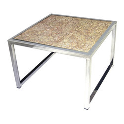 Lazy Susan - Hand Carved Coffee Table - Painstakingly hand carved from solid mango wood. it takes 1 person almost a full week to make the top of this table. The top is covered in glass for protection each unique-Piece is mounted on a stainless steel frame