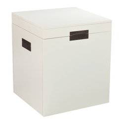 Barclay White Trunk End Table - This clean, streamlined storage cube has all the makings of a great side table. If you're a DIYer, consider adding an extra piece of hardware to the center of the box for added impact.