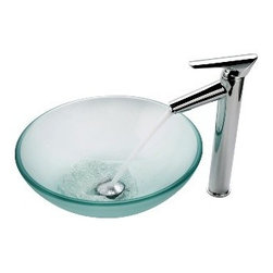 Kraus - Kraus Frosted Glass Vessel Sink and Decus Faucet Chrome - *Add a touch of elegance to your bathroom with a glass sink combo from Kraus