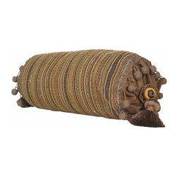 India House Brass, Inc. - Smoke Bolster Pillow with Tassels - Whether you are looking for plain or fancy, modern or traditional, our decorative pillows are just the right combination of modern function and vintage styling.  -Spot Clean Only India House Brass, Inc. - 84203