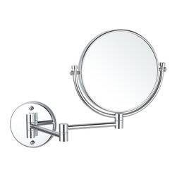 Nameek's - Double Sided Wall Mounted 3x Makeup Mirror - Wall mounted double face makeup mirror featuring 3x magnification and 2 adjustable arms. Round mirror made of brass and available in 3 finishes: chrome, satin nickel, or gold. 8 Inch Round Wall Mounted Mirror. Double Face Makeup Mirror. 3x Magnification. Made of Brass. Contemporary Style Makeup Mirror. Italian Design.