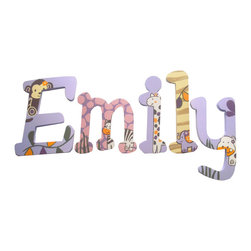 RR - Emily Jungle Animals Hand Painted Wall Letters - Emily Jacana Hand Painted Wall Letters