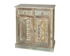 Wooden Sideboard with Carved Panels - Wooden Sideboard with Carved Panels