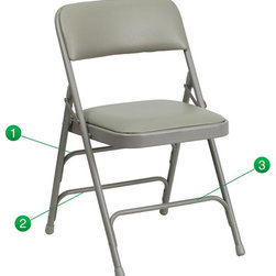 Flash Furniture - Flash Furniture Hercules Upholstered Metal Folding Chair in Gray - Flash Furniture - Folding Chairs - HAMC309AVGYGG - The Triple Braced Hercules Series Folding Chairs are our best folding chairs ever. When in need of temporary seating this heavy duty gray metal frame chair with gray vinyl padded seat and back is perfect.