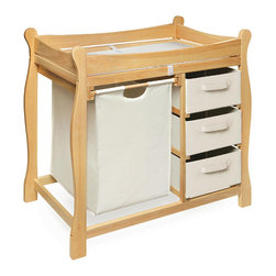 Badger Basket - Natural Sleigh Style Changing Table With Hamper/3 Baskets - This changing table keeps everything tidy and concealed for a clean look in the nursery. Large pull out hamper for dirty duds, or for storing bulk packs of diapers, blankets, and toys. And three pull-out baskets are ideal for changing supplies, clothes, socks, shoes, and toiletries. Hamper bag measures approximately 15x15x23 inches and baskets measure approximately 13x17x7 inches. It can be used with children weighing up to 30 lbs. (13.6 kg).