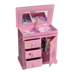 Mele Krista Musical Dancing Fairy Jewelry Box - 9.5W x 9H in. - The Mele Krista Musical Ballerina Jewelry Box made of a sturdy MDF lacquered decorative paper overlay it is the perfect fanciful piece for her favorite things. Not only does she have a tiny fairy spinning to an elegant song she also has lots of space to organize her necklaces rings and other charms. Complete with three drawers various-sized compartments and a necklace carousel. Everything for her little heart's desire. Additional information: Small parts may pose choking hazard; appropriate for children over 8 years Castles and whimsical princess fashion paper overlay 3 open drawers 2 open sections and a large main compartment Lift lid with full interior mirror and magnetic closure Mirrored necklace carousel compartment with magnetic door closure Footed platform base Silver-tone hardware with hand-lined pink suede fabric About MeleEmidio Mele an Italian immigrant to the United States came to New York City in 1896 and learned to make jewelry boxes as an apprentice before founding Mele Manufacturing in 1912. He began by designing and building elegant displays for jewelry store windows. His jewelry box-making business grew throughout the 1900s responding to demands for boxes to hold Purple Hearts during WWII and developing as a popular household name for quality jewelry boxes. Today Mele Jewelry Box is known as the Mele Companies which encompass various divisions under the Mele name. Now based in Utica N.Y. Mele still upholds the family atmosphere on which it was founded and remains America's foremost name in jewelry cases.
