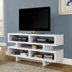 Monarch Specialties - Monarch Specialties White Hollow-Core 48 Inch TV Console - Modernize your space with this open-concept, bright white contemporary TV console. With a thick panel design and 5 open concept shelves perfect for storing electronic components or displaying your favorite decorative items, this piece is a must have in any home.