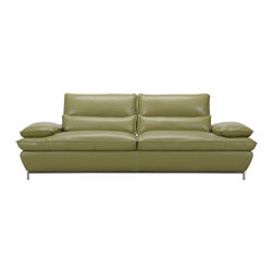 Creative Furniture - Naomi Olive Green Top Grain Full Leather Sofa - Modern, stylish and adjustable, the Naomi Sofa in Olive Green top grain full leather brings something new, exotic and comfortable! The sofa has Adjustable Back Supports and ultra soft adjustable armrests with multiple position capability. The frame is made of solid wood.    Features: