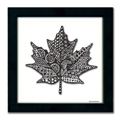 Maple Leaf Pen & Ink - The Maple Leaf design is a print of a pen and ink drawing by Pamela Corwin. The tiny intricate patterns in each of Pam's pen & inks create beautifully detailed graphic designs. Framed in a classic black frame and available in two sizes, this handsome print will fit in any room. They look great in sets of two or three.