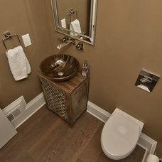 Transitional Powder Room by Art and Cement Construction LLC