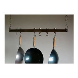Taylor and Ng - Track Ceiling Pot Rack in Chrome - Optional eight hanging links. Hanging. Made from steel and cast aluminum. Rectangular shape. Distance from ceiling: 22 in.. Hanging link: 1.13 in. L x 0.19 in. W x 3 in. H (0.38 lbs.). Pot rack with hooks and hanging links: 36 in. L x 4.50 in. W x 1.83 in. H. Pot rack: 36 in. L x 1.63 in. W x 1.50 in. H (6.20 lbs.). Includes mounting hardware, instructions booklet, two 36 in. bars, sixteen hanging links, eight pan hooks, two ceiling mounting, two swivel and end hooks. Assembly required. Made in Taiwan. 360 degree swivel hooks. End hooks with connecting bolts to holds rack together. Mounts directly to ceiling wood joist 16 in. on centerMaximize your ceiling space to store all of your pots and pans. Steel Hanging Links to extend your pot rack from the ceiling.