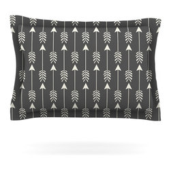 "Kess InHouse - Amanda Lane ""Tribal Arrows Dark Gray"" Pillow Sham (Woven, 30"" x 20"") - Pairing your already chic duvet cover with playful pillow shams is the perfect way to tie your bedroom together. There are endless possibilities to feed your artistic palette with these imaginative pillow shams. It will looks so elegant you won't want ruin the masterpiece you have created when you go to bed. Not only are these pillow shams nice to look at they are also made from a high quality cotton blend. They are so soft that they will elevate your sleep up to level that is beyond Cloud 9. We always print our goods with the highest quality printing process in order to maintain the integrity of the art that you are adeptly displaying. This means that you won't have to worry about your art fading or your sham loosing it's freshness."