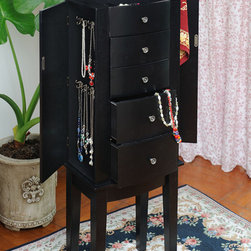 None - Contemporary Style Black Jewelry Armoire Chest Cabinet - Store your jewelry without the hassle of tangles with this modern black jewelry armoire. The two side doors open for necklace storage while the front drawers house smaller items. The top has a mirror and ring compartment for storing precious baubles.