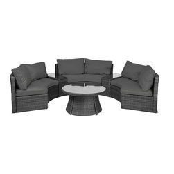 "Reef Rattan - Reef Rattan Half-Moon 6 Pc Curved Bench Sofa Set - Grey Rattan / Grey Cushions - Reef Rattan Half-Moon 6 Pc Curved Bench Sofa Set - Grey Rattan / Grey Cushions. This patio set is made from all-weather resin wicker and produced to fulfill your needs for high quality. The resin wicker in this patio set won't fade, shrink, lose its strength, or snap. UV resistant and water resistant, this patio set is durable and easy to maintain. A rust-free powder-coated aluminum frame provides strength to withstand years of use. Sunbrella fabrics on patio furniture lends you the sophistication of a five star hotel, right in your outdoor living space, featuring industry leading Sunbrella fabrics. Designed to reflect that ultra-chic look, and with superior resistance to the elements in a variety of climates, the series stands for comfort, class, and constancy. Recreating the poolside high end feel of an upmarket hotel for outdoor living in a residence or commercial space is easy with this patio furniture. After all, you want a set of patio furniture that's going to look great, and do so for the long-term. The canvas-like fabrics which are designed by Sunbrella utilize the latest synthetic fiber technology are engineered to resist stains and UV fading. This is patio furniture that is made to endure, along with the classic look they represent. When you're creating a comfortable and stylish outdoor room, you're looking for the best quality at a price that makes sense. Resin wicker looks like natural wicker but is made of synthetic polyethylene fiber. Resin wicker is durable & easy to maintain and resistant against the elements. UV Resistant Wicker. Welded aluminum frame is nearly in-destructible and rust free. Stain resistant sunbrella cushions are double-stitched for strength and are fully machine washable. Removable covers made with commercial grade zippers. Tables include tempered glass top. 5 year warranty on this product. PLEASE NOTE: Throw pillows are NOT included. Curved Bench (3): W 66"" D 35"" H 30"", Side Table (2): W 20"" D 30"" H 20"", Round Coffee Table: W 38"" D 38"" H 18"""