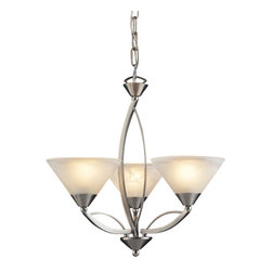 Elk Lighting - Elk Lighting Elysburg Pendant Light with Satin Nickel X-DEL-1/0056 - The Geometric Lines Of This Collection Offer Harmonious Symmetry With A Sophisticated Contemporary Appeal.  A Perfect Complement For Kitchens, Billiard Parlors, Or Any Area That Requires Direct Lighting.  Featured In Satin Nickel With White Marbleized Glass Or Aged Bronze Finish With Tea Stained Brown Swirl Glass. - LED Offering Up To 800 Lumens (60 Watt Equivalent) With Full Range Dimming. Includes An Easily Replaceable LED Bulb (120V).