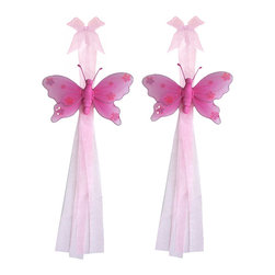 "Bugs-n-Blooms - Butterfly Tie Backs Dark Pink Jewel Nylon Butterflies Tieback Pair Set Decor - Window Curtains Holder Holders Tie Backs to Decorate for a Baby Nursery Bedroom, Girls Room Wall Decor - 5""W x 4""H Jewel Curtain Tieback Set Butterfly 2pc Pair - Beautiful window curtains tie backs for kids room decor, baby decoration, childrens decorations. Ideal for Baby Nursery Kids Bedroom Girls Room.  This gorgeous butterfly tieback set is embellished with sequins and glitter.  This pretty butterfly decoration is made with a soft bendable wire frame & have color match trails of organza ribbons.  Has 2 thick color matched organza ribbons to wrap around the curtains.  Visit our store for more great items. Additional styles are available in various colors, please see store for details. Please visit our store on 'How To Hang' for tips and suggestions. Please note: Sizes are approximate and are handmade and variances may occur. Price is for one pair (2 piece)"
