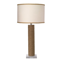 Jamie Young - Jamie Young Cylinder Rope Table Lamp - The eclectic Cylinder table lamp base by Jamie Young lights up in rustic style with a contemporary guise. Accented with an optional drum shade, the round fixture's rope detailing and square base sets modern living rooms aglow with visual delight. Jute; Add optional Jamie Young medium drum shade (shown in Sea Salt with Natural Burlap trim); 3-way socket; Wired with 6' cord; Silver sockets with black switches; Accepts 150W bulb (not included); Harp included with optional lamp shade or can be added to order