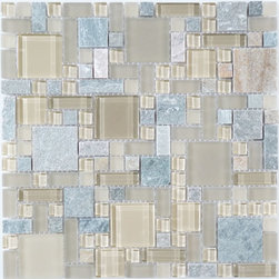 "Euro - Cream/Beige Glossy And Frosted Glass and Slate - Transform any room with these unique and inspired Cream/Beige Glossy & Frosted Glass and Slate tiles. Whether you are looking to infuse your decor with something classic or contemporary, this artful blend lends the perfect ambience. Both distinctive and durable, these tiles can be used in myriad applications, be it backsplashes, bathrooms, fireplaces, walls, even ceilings and floors. Incorporate these top quality artisan tiles for a gorgeous and dramatic effect.   Sheet size:  12"" x 12""     Tile Size:  Unique Shapes     Tiles per sheet:  170     Tile thickness:  1/4""      Grout Joints:  1/8""     Sheet Mount:  Mesh Backed     Stone colors may vary   Sold by the sheet"