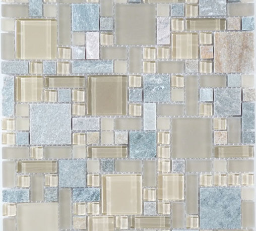 """Euro - Cream/Beige Glossy And Frosted Glass and Slate - Transform any room with these unique and inspired Cream/Beige Glossy & Frosted Glass and Slate tiles. Whether you are looking to infuse your decor with something classic or contemporary, this artful blend lends the perfect ambience. Both distinctive and durable, these tiles can be used in myriad applications, be it backsplashes, bathrooms, fireplaces, walls, even ceilings and floors. Incorporate these top quality artisan tiles for a gorgeous and dramatic effect.   Sheet size:  12"""" x 12""""     Tile Size:  Unique Shapes     Tiles per sheet:  170     Tile thickness:  1/4""""      Grout Joints:  1/8""""     Sheet Mount:  Mesh Backed     Stone colors may vary   Sold by the sheet"""