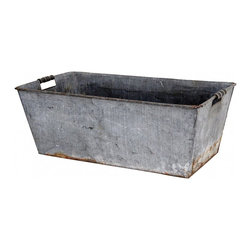Two Handle Basket - This is one great utilitarian basket. Substancial in size, two wooden handles and the perfect vintage patina. Adds vintage industrial appeal to interior or exterior.