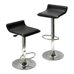 """Winsome Wood - Modern Leatherette Air Lift Adjustable Bar St - Enjoy all the benefits of great seating paired with contemporary styling for commercial settings.  Column base and foot ring are chrome.  Pick a pair of stylish backless work chairs.  Enjoy the fine design that went into creating this set of contemporary stools, each of which feature a black wave shaped seat on a chrome plated base with foot rest.  You'll also discover quality craftsmanship in this pair of chrome barstools that features hydraulic lift functioning. * Set of 2. Adjustable height from 24.8"""" to 33.1"""" H. One touch air lift mechanism. Black faux leather seat. Chrome finished base and foot rest. Assembly required. Weight Capacity: 200 lbs. 15""""L x 15""""W x 24.8"""" to 33.1"""" H (Seat Height: 22.7 - 30.8""""H)"""