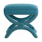 Arteriors - Tennyson Stool, Teal - Beautiful linen accented by metallic studs makes this piece a dramatic addition to your favorite contemporary setting. With its classic curves and breathable linen upholstery, it's ideal as a dressing table bench or simply as standout seating in any room.