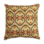 """The Pillow Collection - Zhambyl Ikat Pillow Green Brown 18"""" x 18"""" - Bring a funky twist to your home with this must-have statement piece. This square pillow features a bright and charming ikat pattern in shades of green, brown, white and red. Update your room in an instant by placing this 18"""" pillow in strategic places, This throw pillow is made of 100% durable and soft cotton fabric. Hidden zipper closure for easy cover removal.  Knife edge finish on all four sides.  Reversible pillow with the same fabric on the back side.  Spot cleaning suggested."""
