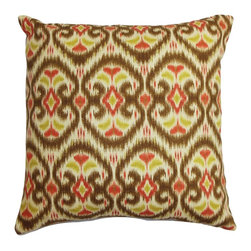 """The Pillow Collection - Zhambyl Ikat Pillow Green Brown - Bring a funky twist to your home with this must-have statement piece. This square pillow features a bright and charming ikat pattern in shades of green, brown, white and red. Update your room in an instant by placing this 18"""" pillow in strategic places, This throw pillow is made of 100% durable and soft cotton fabric. Hidden zipper closure for easy cover removal.  Knife edge finish on all four sides.  Reversible pillow with the same fabric on the back side.  Spot cleaning suggested."""