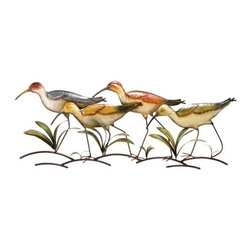"Benzara - Metal Birds Wall Decor. Four Colorful Birds Walking Sculpture - Metal Birds wall decor. Four Colorful Birds Walking sculpture. Colors variation is due to hand crafted design. Made from cast iron. Easy mount using 1 nail or screw.. Dimension: Each piece is 14""H x 39""W."