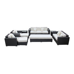 Modway - Eclipse Sofa Set, Espresso White - Achieve cosmic aptitude with this empirically abundant outdoor living set. Discover more than the eye can see with Eclipse's radiant white all-weather cushions and espresso rattan base. Leave an impression on your surrounding and contemplate the incredible as you triumph on the pathway to new perspectives.